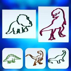 kit dinosaurios.jpg Download STL file dinosaur cookie cutter kit • 3D print template, ideasyconfecciones3d