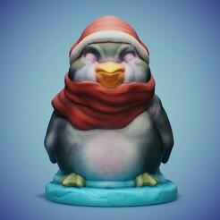 CUTE-14-RENDER-02.jpg Download STL file Christmas Penguin • 3D print model, LaloBravo