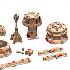 Full Assembly - crop.jpg Descargar archivo STL Xeno Terrain Vol 1 - Estilo Tau • Plan para la impresión en 3D, Hodge3design