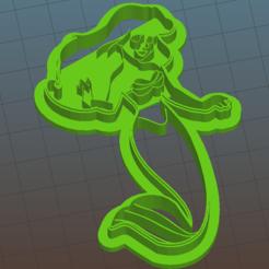 Ariel1.png Download OBJ file Ariel Cookie Cutter • 3D print template, vishalkanhai82