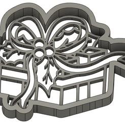 EMPORTE-PIECE CADEAU DE NOËL 2.jpg Download GCODE file 2 CHRISTMAS BISCUIT MOULDS - SANTA CLAUS - SNOWMAN - FIR TREE - CHRISTMAS BALL - COOKIE CUTTER - COOKIE CUTTER - GIFT - REINDEER - COOKIE CUTTER- STENCIL • Template to 3D print, cfl0