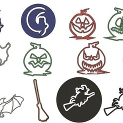 Download GCODE file Halloween cookie cutters, set of 12 or stencils • 3D print design, cfl0