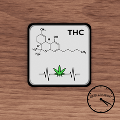 portavasos molecula thc  1.png Download STL file Coaster / Weed Coasters - THC • 3D printer model, Weed420House
