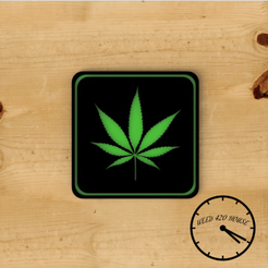 Hojaweed portavasos con logo 1.png Download STL file Coaster / Weed Coasters - Cannabis • 3D printing object, Weed420House