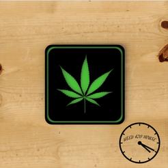 Hojaweed portavasos con logo 1.png Télécharger fichier STL Sous-verre / Sous-verre de mauvaises herbes - Cannabis • Modèle pour imprimante 3D, Weed420House