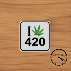 i love 420 con logo 1.png Download STL file Coaster / Weed Coasters - 420 • 3D printable design, Weed420House
