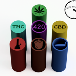 WEED2 con logo.png Download STL file Filter Tips - Pack Weed (Reusable Nozzles) Weed Filters • 3D printable object, Weed420House