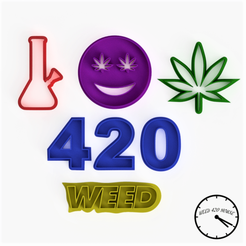 all cutters2 (1).png Télécharger fichier STL Weed - Coupe-biscuits / Cannabis Pack - Style Marijuana • Design pour impression 3D, Weed420House