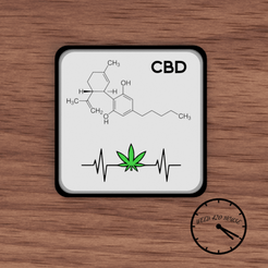 portavasos molecula cbd con puto logo.png Download STL file Coaster / Weed Coasters - CBD • Object to 3D print, Weed420House