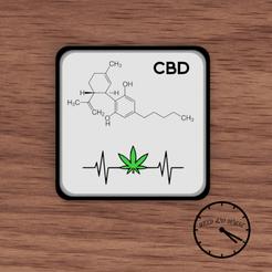 portavasos molecula cbd con puto logo.png Télécharger fichier STL Sous-verre / Weed Coasters - CBD • Plan pour imprimante 3D, Weed420House