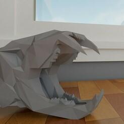 1.jpg Download STL file TIGER SKULL LOW POLY • 3D printer object, ScarLRT