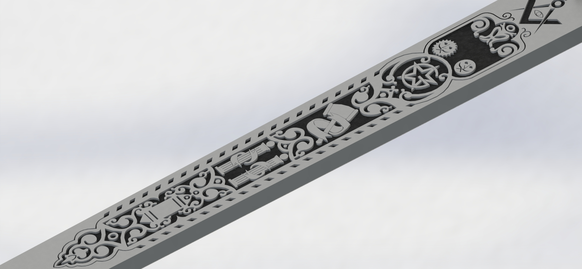 preview19.JPG Download STL file Masonic Ceremony Sword-Ready 3D Print • 3D printable template, GokBoru