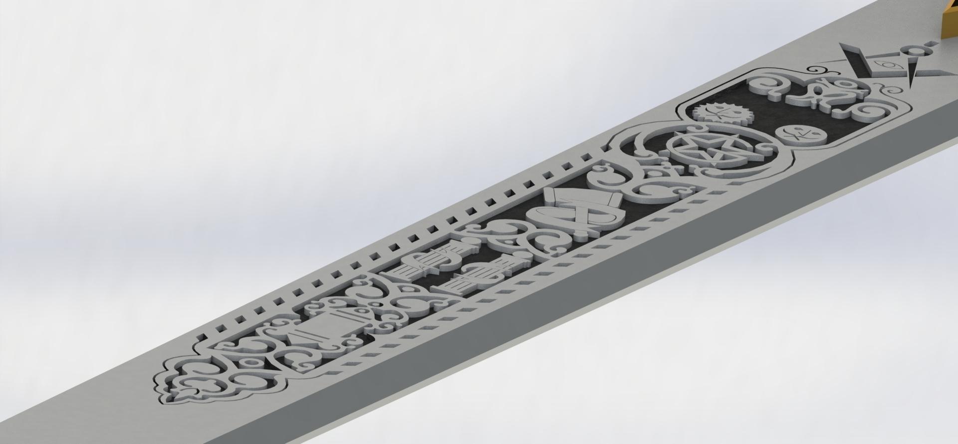 preview20.JPG Download STL file Masonic Ceremony Sword-Ready 3D Print • 3D printable template, GokBoru