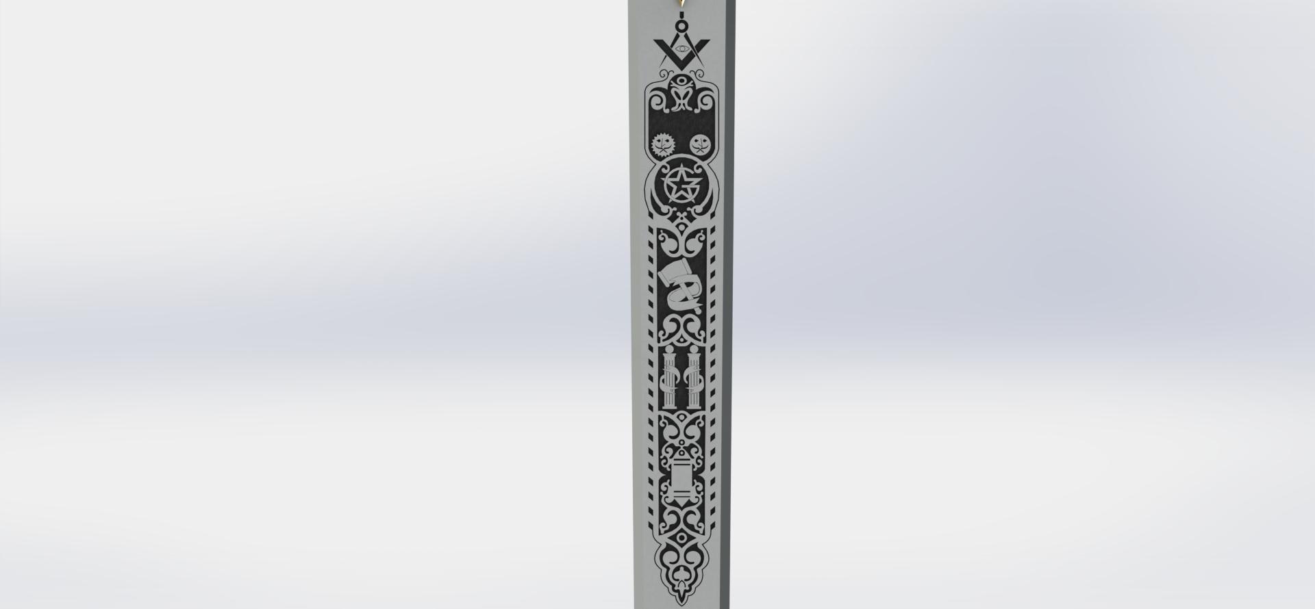 preview15.JPG Download STL file Masonic Ceremony Sword-Ready 3D Print • 3D printable template, GokBoru