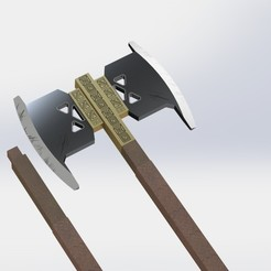 preview.JPG Télécharger fichier STL La hache de guerre de Gimli - Le seigneur des anneaux - Modèle prêt à être imprimé en 3d • Plan à imprimer en 3D, GokBoru