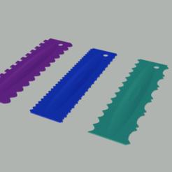 scrappers-Temp0005.png Download STL file Comb Cake Cornet Scrapper Paint Comb • 3D printer model, Escolapio