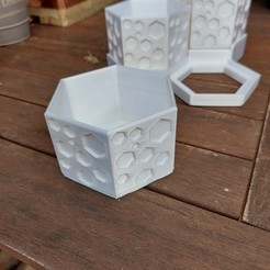 125953916_396612868203344_7753385628267222680_n.jpg Télécharger fichier STL Jardinière de bureau hexagonale / Range-bureau avec support à 3 niveaux • Plan à imprimer en 3D, MichaelJinks