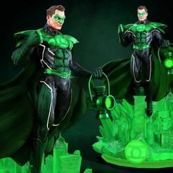 300820 B3DSERK - Green Lantern promo 01.jpg Télécharger fichier STL B3DSERK DC comics Green Lantern : Sculpture 3d de Hal Jordan : STL prêt à être imprimé • Modèle pour imprimante 3D, b3dserk