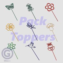 Pack Toppers Jardín A.png Download STL file Pack of decorative garden toppers - Line drawings • 3D printable design, Geo3D