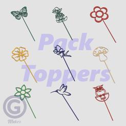 Pack Toppers Jardín A.png Télécharger fichier STL Pack de surtouts décoratifs pour le jardin - Dessins au trait • Plan à imprimer en 3D, Geo3D