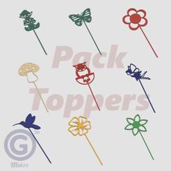 Pack Toppers Jardín B.png Télécharger fichier STL Paquet de bouchons décoratifs pour le jardin - Dessins remplis • Design imprimable en 3D, Geo3D