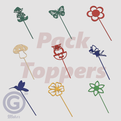 Pack Toppers Jardín B.png Download STL file Pack of decorative garden toppers - Filled drawings • 3D printable design, Geo3D