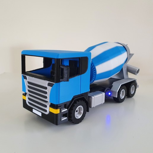 Download STL file Cement Truck with motorized rotating tank 3D print model • 3D printer model, 3DDICT