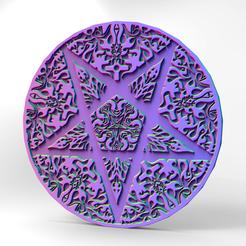 3.png Télécharger fichier STL Dessous de verre du pentagramme • Objet pour imprimante 3D, imanThedude