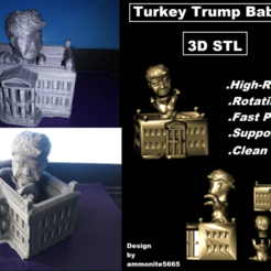 trky2.png Download STL file Turkey Trump Baby in White House • 3D printer design, ammonite5665