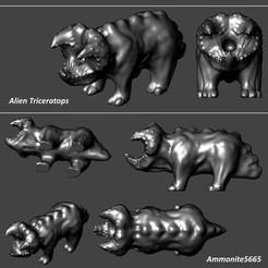 AlienTriceratopsPic.jpg Télécharger fichier STL Tricératops extraterrestre • Plan à imprimer en 3D, ammonite5665