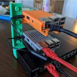 IMG_Back.jpg Download free STL file Raspberry Pi Server Rack Style Switch Bracket • 3D printing model, Kaptin42
