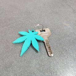 Download free STL file weed leaf keychain • 3D printing object, aleglez19912