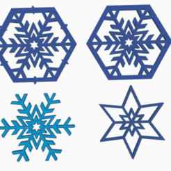 snowflake_all.png Download STL file Christmas ornaments bundle (4 in 1) • 3D printer object, abaialex2244