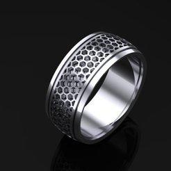 221.jpg Download 3DS file Men's hexagon style solid ring • 3D printable design, Ayyaz166