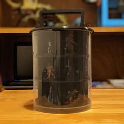 MiniStorage.jpg Télécharger fichier STL Rangement des miniatures et des dés / Présentoir de voyage pour les miniatures de table de 10 à 35 mm (peut contenir jusqu'à 21 miniatures et un jeu de dés) • Plan pour imprimante 3D, tabletoptoolshop
