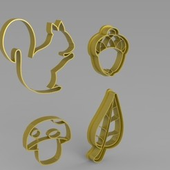 Render 02.jpg Download STL file Autumn cookie cutter set • Object to 3D print, 3Dreams_