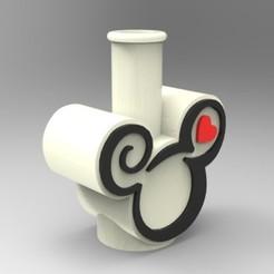 "render 01.jpg Download STL file MICKEY MOUSE"" BONG / SHISHA NOZZLE • 3D printable design, 3Dreams_"