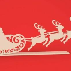 """render 01.jpg Télécharger fichier STL Décoration de Noël """"Père Noël et rennes"""". • Objet imprimable en 3D, 3Dreams_"""