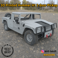1.png Download STL file 3D PRINTED HUMMER H1 2 DOOR PICKUP BODY BY [AN3DRC] • Template to 3D print, AntNesh