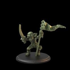 Goblin Leader.62.1.jpg Download STL file Goblin Flag Bearer Pre-Supported • 3D printer object, TytanTroll_Miniatures