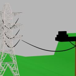 casa e energia eletrica22222.png Télécharger fichier OBJ Modèle 3D de pylône électrique Modèle 3D à faible polarité • Design pour imprimante 3D, ismael2020