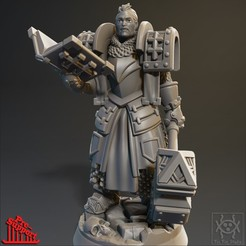 Render011.jpg Download STL file Adventurer - Male Cleric • Template to 3D print, tri_fin_studio