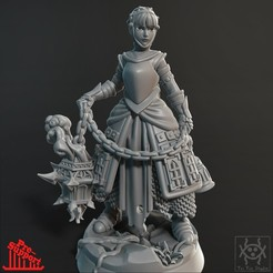Render01.jpg Download STL file Adventurer - Female Cleric • 3D printing object, tri_fin_studio