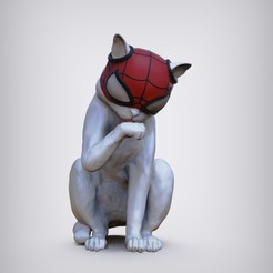 untitled.22.jpg Download STL file SpiderCat - Miles Morales spiderman • 3D print model, zenattipaul