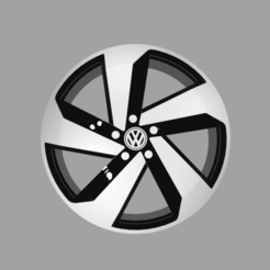 front view.png Download STL file Volkswagen Golf GTI Wheel 3D printable • 3D printable object, thegearheadfactory