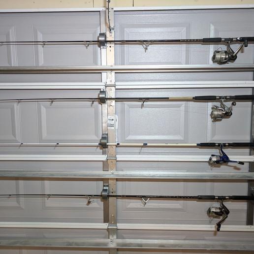 Download Free Stl File Fishing Pole Holder Wall Or Garage Door Mount 3d Printer Design Cults