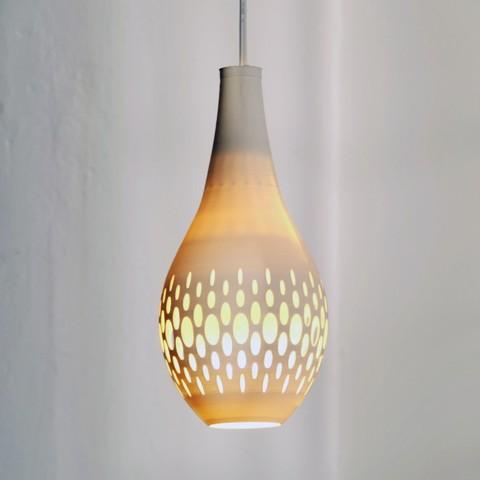 drip-light_on.jpg Télécharger fichier STL gratuit gCreate Drip Pendentif Pendentif Lumière Abat-jour • Modèle imprimable en 3D, gCreate