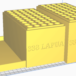 338 LAPUA.png Download STL file 338 LAPUA (50 Rounds) Stackable Ammo Storage • 3D printable model, BACustomsMN