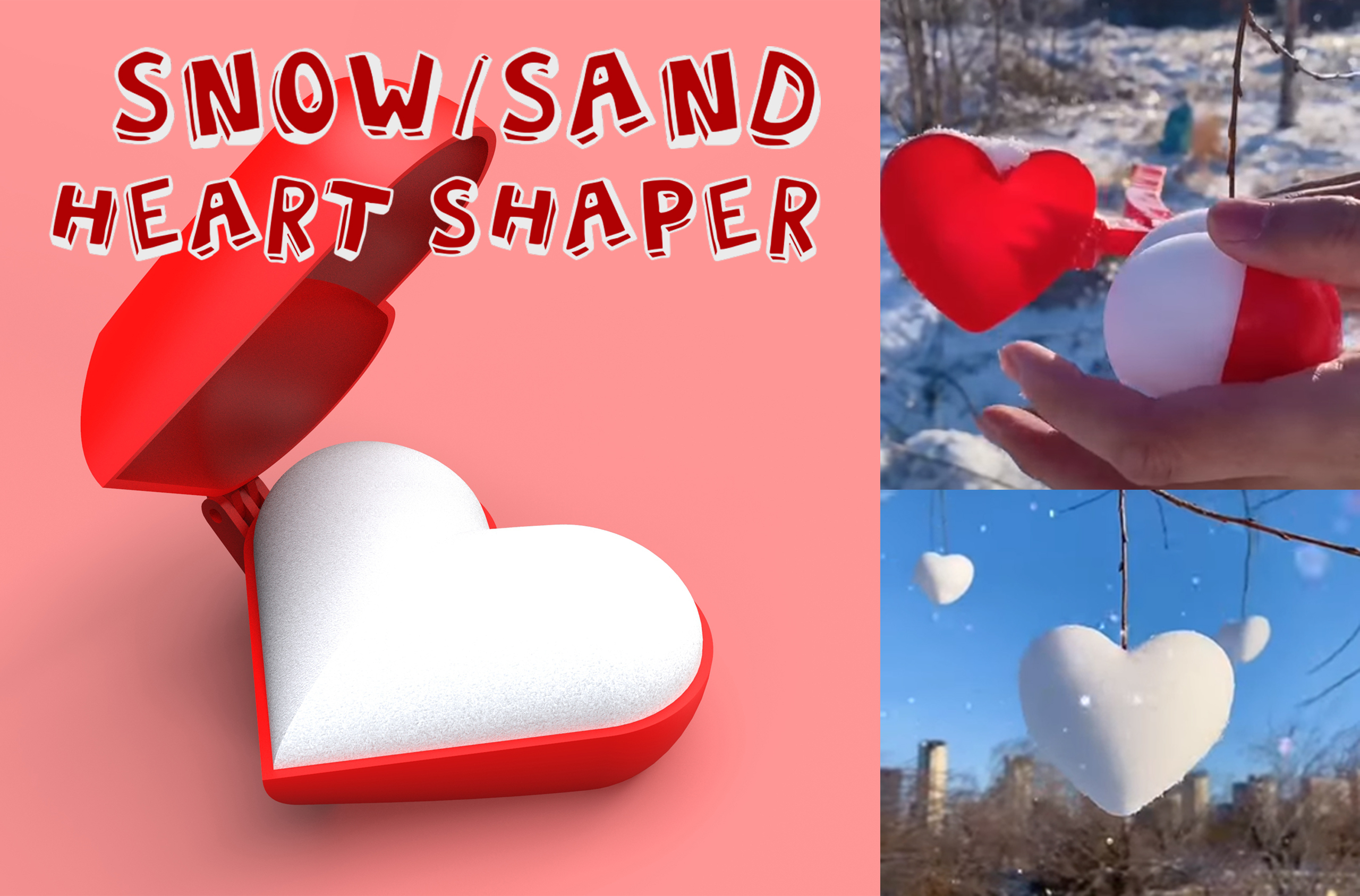 Snow.jpg Download STL file Snow and Sand Heart shaper • 3D printer template, LaProto