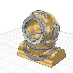 Dive_helmet_v1.jpg Download free STL file Lamp cover Dive Helmet • 3D printing template, Vinos88